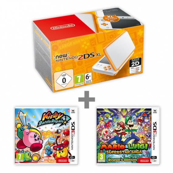 New Nintendo 2DS XL White Orange + KBR + M&L Supersaga
