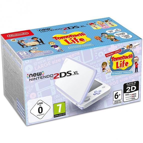New Nintendo 2DS XL White & Levander + Tomodachi