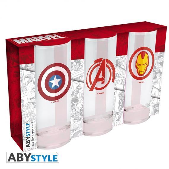 Marvel Avengers Kapitan Ameryka & Iron Man Zestaw szklanek 3 x 290 ml
